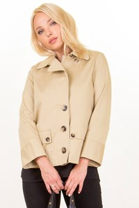 Beige Cotton Blended A Line Jacket / Size: M - Fit: S